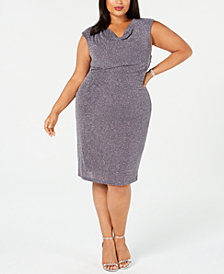 Jessica Howard Plus Size Glitter Cowl-Neck Sheath Dress