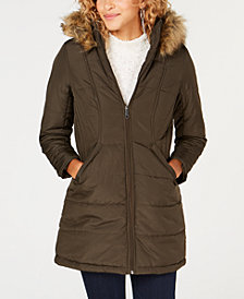 Maralyn & Me Juniors' Plus Size Faux Fur Hooded Puffer Coat