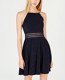 Juniors' Metallic Lace Illusion Fit & Flare Dress, Created for Macy's