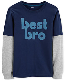 Carter's Little & Big Boys Layered-Look Bro-Print Cotton T-Shirt