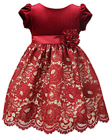 Jayne Copeland Little Girls Floral Lace Velvet Dress
