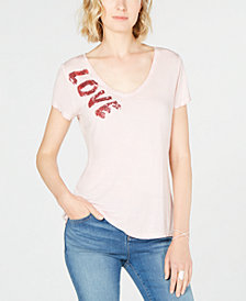 I.N.C. Sequin Love T-Shirt, Created for Macy's