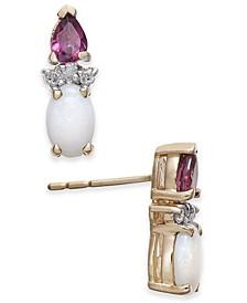 Multi-Gemstone (1 ct. t.w.) & Diamond Accent Stud Earrings in 14k Gold