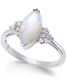 Opal (1-3/4 ct. t.w.) Marquise & Diamond (1/6 ct. t.w.) Ring in Sterling Silver