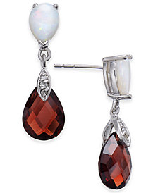 Multi-Gemstone (6 ct. t.w.) & Diamond Accent Drop Earrings in 14k White Gold