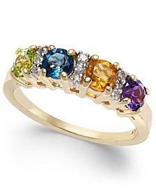 Multi-Gemstone (1-1/6 ct. t.w.) & Diamond (1/10 ct. t.w.) Ring in 14k Gold
