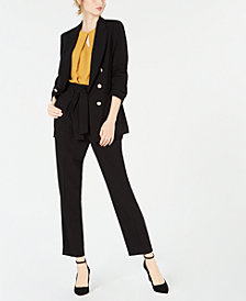 Bar III Double-Breasted Blazer, Keyhole Shell & Belted Pants, Created for Macy's