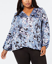 I.N.C. Plus Size Blouson-Sleeve Surplice Top, Created for Macy's
