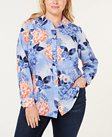 Charter Club Plus Size Floral-Print Button-Up Top, Created for Macy's
