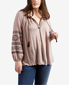 Lucky Brand Trendy Plus Size Embroidered Peasant Top