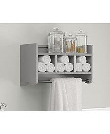 """25"""" Bath Storage Shelf With Towel Rod, Gray"""