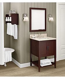 """25"""" Bath Storage Shelf With Towel Rod, Espresso"""
