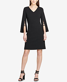 DKNY Embellished Bell-Sleeve A-Line Dress, Created for Macy's