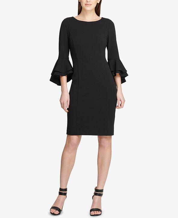 DKNY Flounce-Sleeve Sheath Dress, Created for Macy's