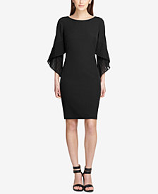 DKNY Pleated Bell-Sleeve Sheath Dress, Created for Macy's