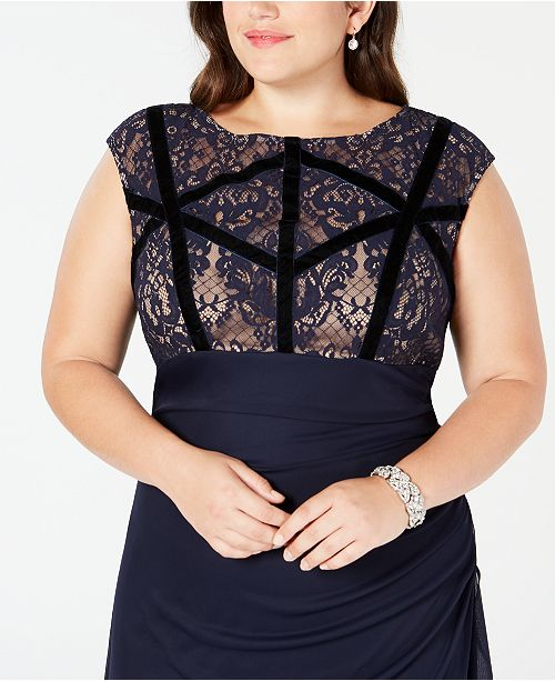 Betsy & Adam Plus Size Velvet-Trim Lace Gown & Reviews ...