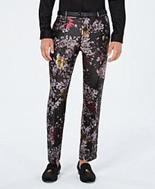 I.N.C. Men's Slim-Fit Metallic Floral-Print Pants, Created for Macy's