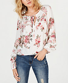American Rag Juniors' Printed Ruffle-Sleeve Top, Created for Macy's