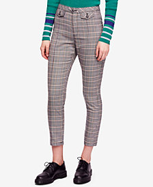 Free People Tailored Cropped Plaid Pants