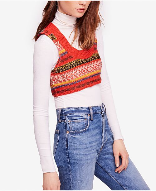 42e9884e3e5885 Free People Fields of Fair-Isle Cropped Sweater Vest   Reviews ...