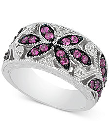 Ruby (7/8 ct. t.w.) & Diamond Accent Filigree Band in Sterling Silver