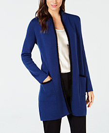 Alfani Petite Eyelash-Trim Cardigan, Created for Macy's