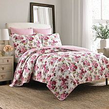 Laura Ashley Full/Queen Lidia Pink Quilt Set