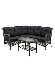 4-Piece Random Weave Sectional with Cushions - Grey