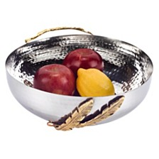 Badash Crystal Feathers Stainless Steel and Brass Serving Bowl