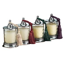 Badash Crystal Covered Candle Jars with Vanilla Scent Candle and Assorted Tassels - Set of 4