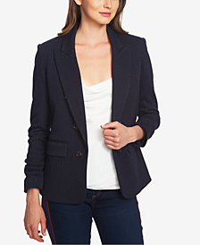 1.STATE Ruched-Sleeve Pinstriped Blazer