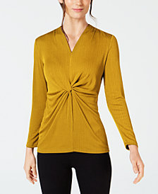 Alfani V-Neck Knot-Front Top, Created for Macy's