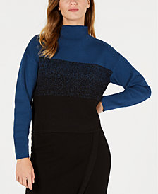 Anne Klein Mock-Neck Jacquard Sweater