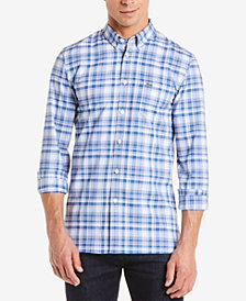 Lacoste Men's Slim-Fit Stretch Oxford Plaid Shirt