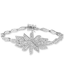 Tiara Cubic Zirconia Deco Cluster Bracelet in Sterling Silver