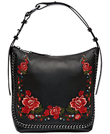 Calvin Klein Lianna Pebble Leather Embroidered Hobo