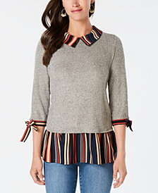 Monteau Petite Layered-Look Sweater
