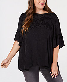 Lucky Brand Trendy Plus Size Floral Jacquard Top