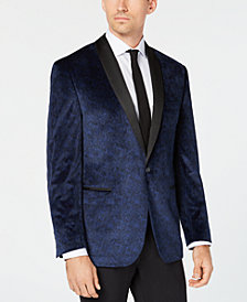 Ryan Seacrest Distinction™ Men's Modern-Fit Blue Velvet Paisley Print Dinner Jacket, Created for Macy's