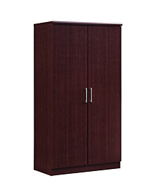 2-Door Armoire with 4-Shelves in Mahogany