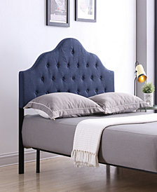 King-Size Upholstered Tufted Rounded Headboard in Blue