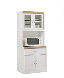 Kitchen Cabinet with Top and Bottom Enclosed Cabinet Space, 1-Drawer, plus Large Open Space for Microwave in White