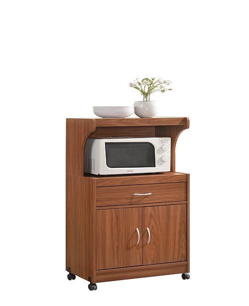 Hodedah Microwave Kitchen Cart in Cherry - Furniture - Macy\'s