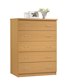 5-Drawer Jumbo Chest with Metal Gliding Rails in Beech