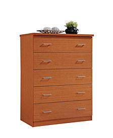 5-Drawer Jumbo Chest with Metal Gliding Rails in Cherry