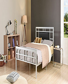 Complete Metal Queen-Size Bed with Headboard, Footboard, Slats and Rails in Silver