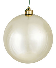 "Vickerman 4"" Champagne Shiny Ball Christmas Ornament, 6 per Bag"