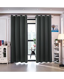 """96"""" Delphi Premium Solid Insulated Thermal Blackout Grommet Window Panels, Smoke Grey"""