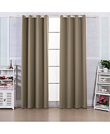 "72"" Ephesus Premium Solid Insulated Thermal Blackout Grommet Window Panels, Sepia Brown"