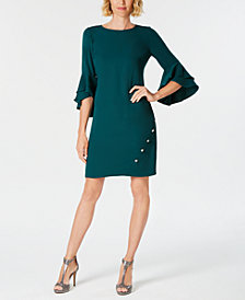MSK Petite Bell-Sleeve Rhinestone Dress